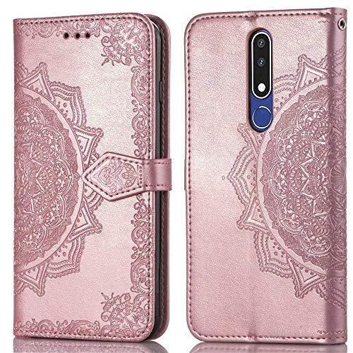 Bear Village Hülle für Nokia 3.1 Plus, PU Lederhülle Handyhülle für Nokia 3.1 Plus, Brieftasche Kratzfestes Magnet Handytasche mit Kartenfach, Roségold