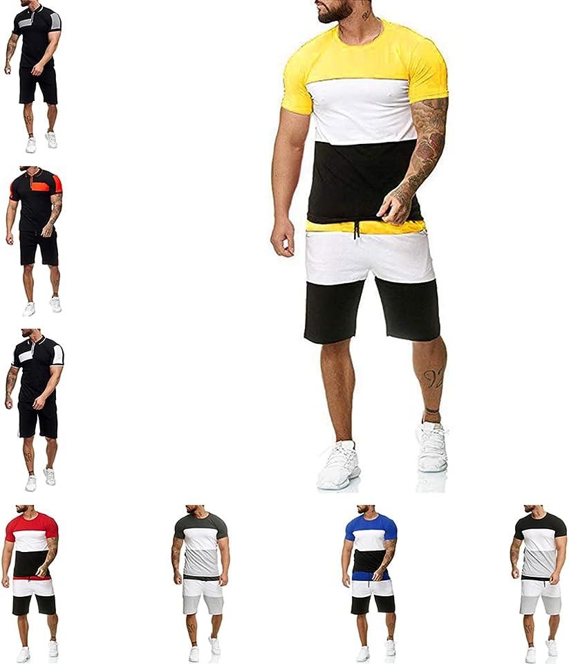 Herren Sommer Sportanzug kurz Trainingsanzug 2-teiliger Jogging-Sportanzug mit gestreiften Nähten Minimale Bewegung Eroberer der Vitalität der Männer