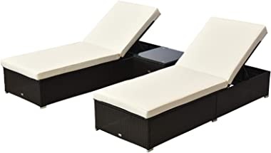 Outsunny 3 pc Rattan Wicker Patio Chaise Lounge Set with Side Table, Cream/Coffee