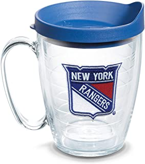 Tervis 1087012 NHL New York Rangers Primary Logo Tumbler with Emblem and Blue Lid 16oz Mug, Clear