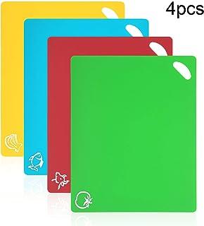 Vicloon Tablas de Cortar de Plástico, Juego de 4 Tablas de