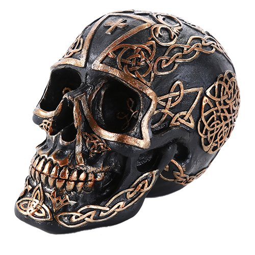 Pacific Giftware Celtic Pattern Cross Black and Gold Collectible Skull Home Decor Gift