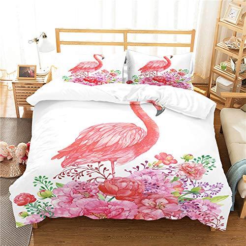 Treer Duvet Cover Sets King Size Double Single Bed, Pink 3D Flamingo Print Microfiber Soft comfortable Bedding Set Included 1 Duvet Cover + 2 Pillowcase (200x200cm,Pink flamingo)