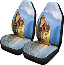 Pinbeam Car Seat Covers Blue Switzerland Chillon Castle at Geneva Lake Leman Europe Set of 2 Auto Accessories Protectors Car Decor Universal Fit for Car Truck SUV