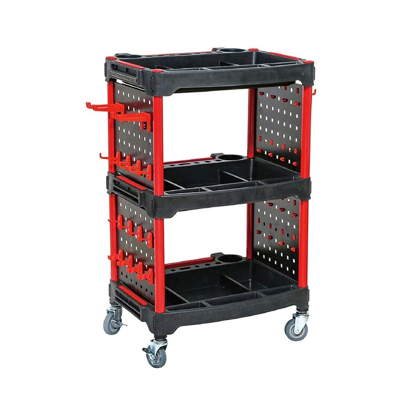 予見するサーキットに行く炭水化物ホイール付き3シェルフサービスカートとツールハンギングボードワークショップトロリープラスチックツールカート 作業カート (Color : Black, Size : 57x42x100cm)