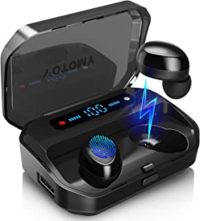 $49 » True Wireless Earbuds, VOTOMY Bluetooth 5.0 Earbuds with 200H Cycle Playtime 5D TWS Stereo, Mono/Share Mode in-Ear Wireless Earphones 3500mAh Charging Case with LED Battery Display for Work and Gym