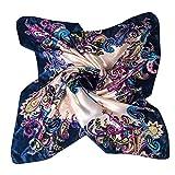 Sanwood Women's Neckerchief 35'×35' Large Square Scarf Headdress (Dark Blue )