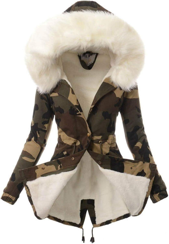 GreatestPAK Parka Damen Slim Kapuzenjacke Kunstpelz Gefütterter Wintermantel Taschen Reißverschluss Dicker Trenchcoats Weiß