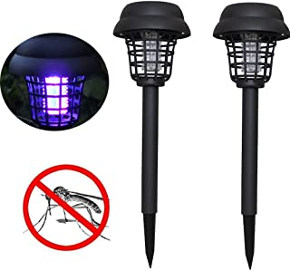 GXOK 2PC Solar Powered Lawn Lamp,Landscape Lights,Garden Decoration Light, Lawn Light LED Drive Away Pest Bug Insect Mosquito Lamp Garden Light [Ship from USA Directly]