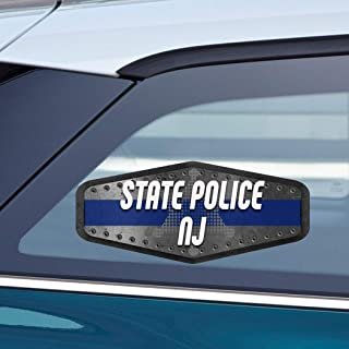 Makoroni - STATE POLICE NJ Police Cop Cops Car Laptop Wall Sticker Decal - 3'by7.5'(Small) or 4'by9.5'(Large)