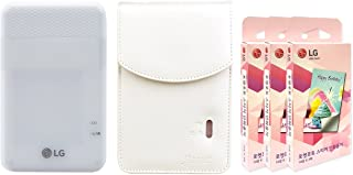 LG PD261 Portable Mobile Pocket Photo Printer [White] + Zink Sticker Paper 90 Sheets + Atout Premium Synthetic Leather Case [White] With Gift USB Cable [International Version]