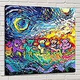 YuFeng Art Inn Modern Wall Poster Art Print Oil Painting on Canvas Home Decor Wall Decoration Canvas Art Grateful Dead Dancing Bears Starry Night van Gogh on Canvas Modern Deco (Unframed-No Framed,24x24inch)