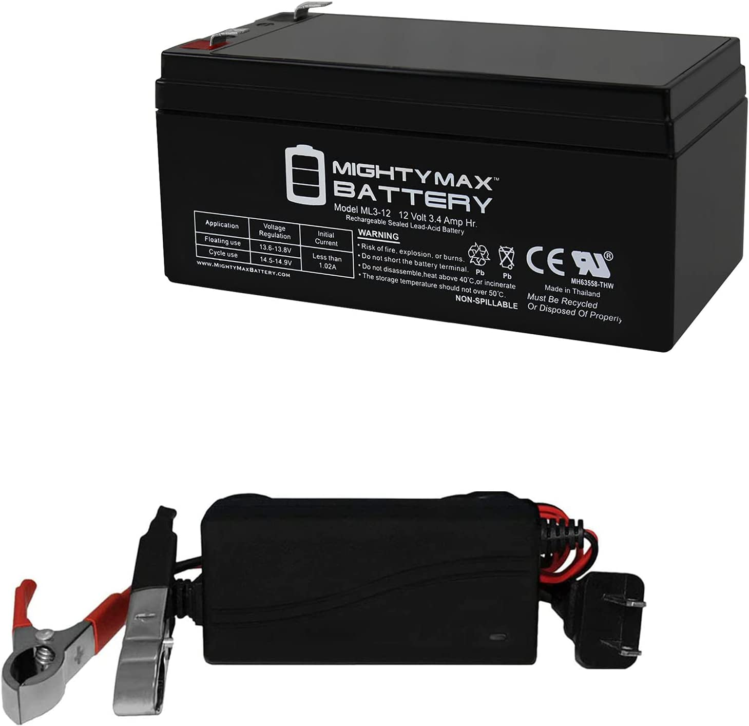Mighty Max Battery 12V 3.4Ah Replaces Alexander 90315, G1230, G1