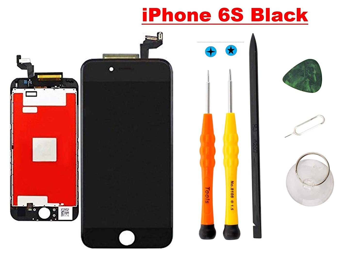 Compatible with iPhone 6S Screen Replacement (4.7 Inch Black), YRYK LCD Digitizer Touch Screen Assembly Set with 3D Touch, Repair Tools and Professional Replacement Manual Include