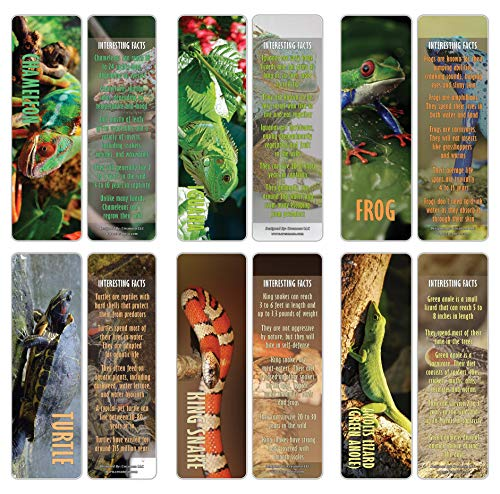 Creanoso Exotic Reptile Animals Bookmarks Cards (12-Pack)– Premium Gift Set – Awesome Stocking Stuffers Gifts for Men & Women, Teens, Boys, Girls – Six Bulk Assorted Bookmarks Designs – Business Gifts