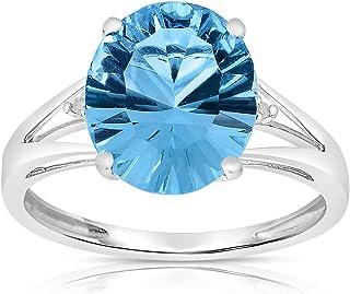 KOKAV Designer 14K Solid White Gold, 5-6Ct 12x10mm Concave Cut Oval Genuine Blue Topaz 4 Prongs Set Diamond Accent Women E...