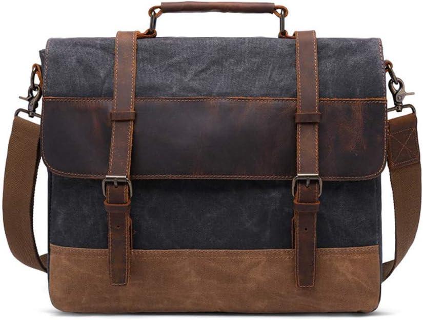 Color : Coral Cyan XJRHB Mens Briefcase Oil Wax Canvas Bag Mens Shoulder Bag Retro Mens Bag Messenger Bag