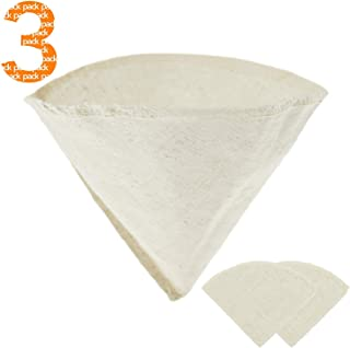 Hemp and Organic Coffee Filter Cotton Cloth - Reusable, All Natural, Unbleached, Eco-friendly cone coffee filter - Size No. 4, 3-pack), For Coffee Machine and Pour Over Coffee