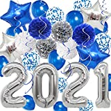 2021 Graduation Decorations Silver and Blue - 40 Inch Silver 2021 nalloons, Blue Silver Paper Pompoms Blue Confetti Balloons and Star Balloons for Graduation Party Class of 2021 Party Decorations