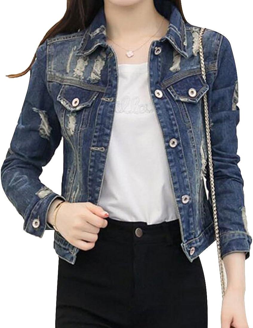 Denim Jackets Trendy XU Women's Cool Cropped Long Sleeve Slim Fit Jean Coat