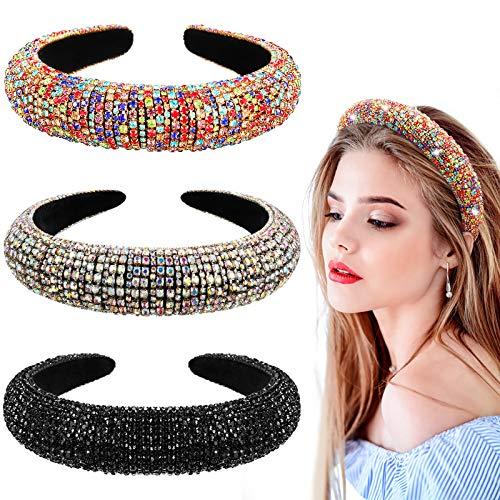 3 Pieces Rhinestone Crystal Diamond Headband Wide Velvet Padded Hairbands Hair Party Wedding Headwear Accessories for Women Girls (Rainbow, Black, White and Blue)