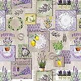 Wachstuch Tischdecke abwaschbar Gartentischdecke Meterware Grün Violett Grau Gelb Lavendel Blumen Zitrone ÖkoTex Fantastik 8044-1 (Rund 140 cm)