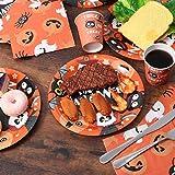 BESTonZON Halloween-Papiergeschirrset, Einwegbesteckset, Partyzubehör-Set 24, Inklusive Pappteller, 48 Servietten und 24 Tassen Geschirrset - 7