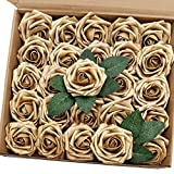 J-Rijzen Artificial Flowers 25PCS Real Looking Gold Roses Fake Roses with Stem for DIY Wedding Bouquets Centerpieces Party Baby Shower Home Decorations