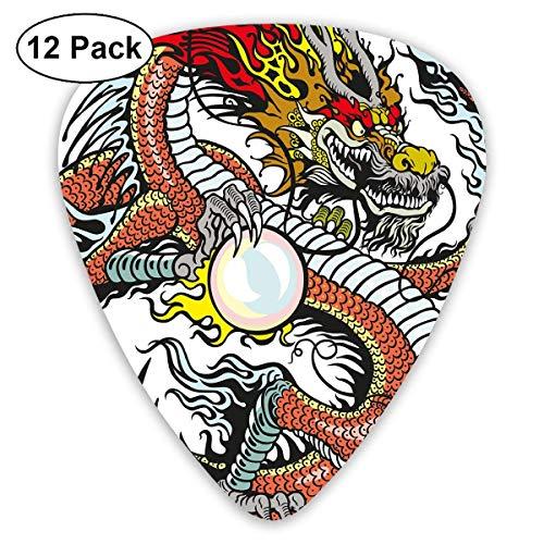 Plettro per chitarra Creatura cinese tradizionale con in mano una grande perla con segni zodiacali Folk Tattoo Graphic, per basso elettrico Chitarre acustiche confezione da 12
