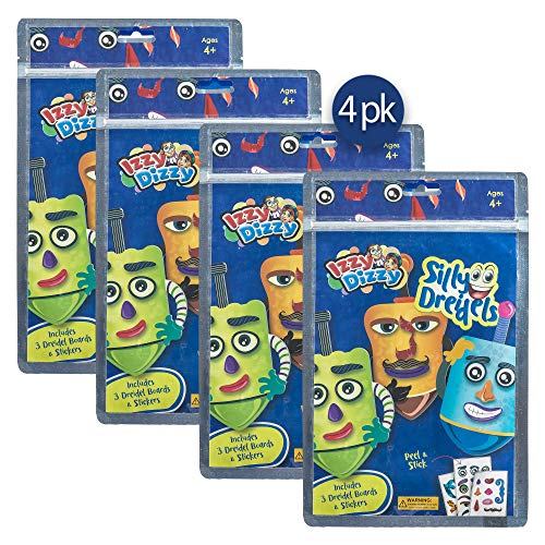 Izzy 'n' Dizzy Silly Dreidels - 4 Pack of 3 Dreidels Boards and Stickers - Hanukkah Arts and Crafts - Gifts and Games