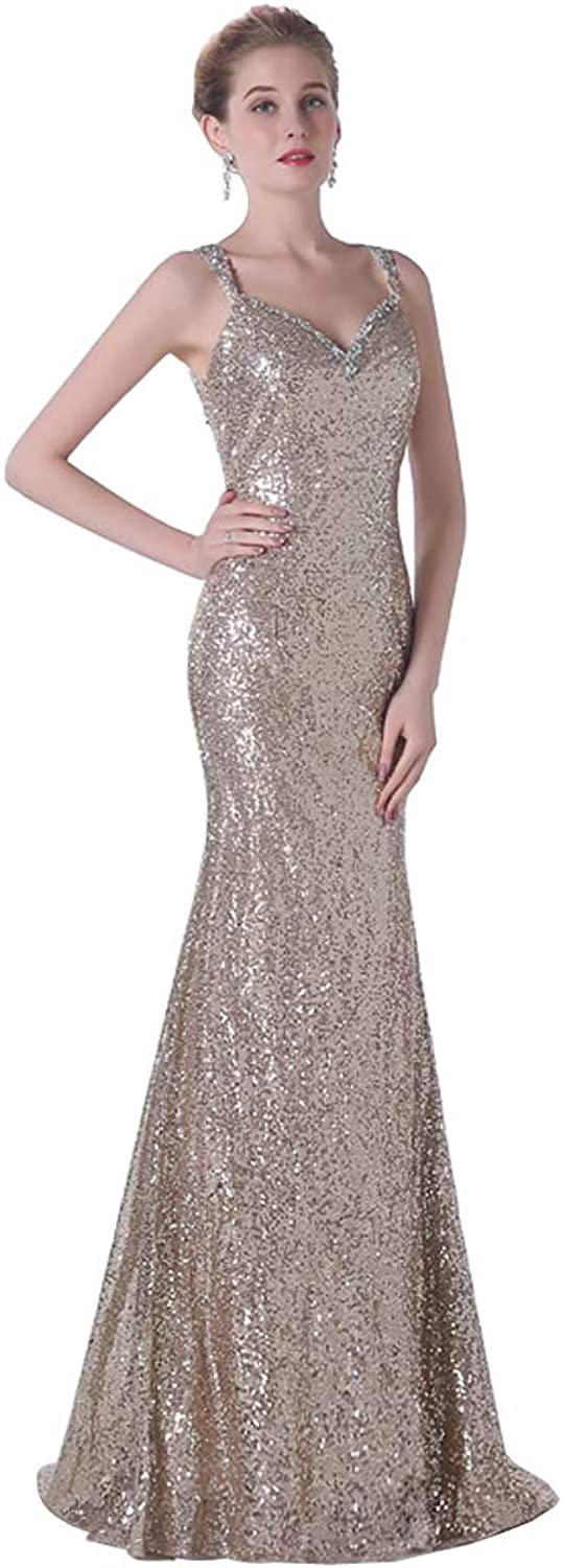 Quintion Norris Women's Spaghetti Straps Sleeveless VNeck Tansparent Back Long Sequined Evening Dress Formal Party Prom Gown