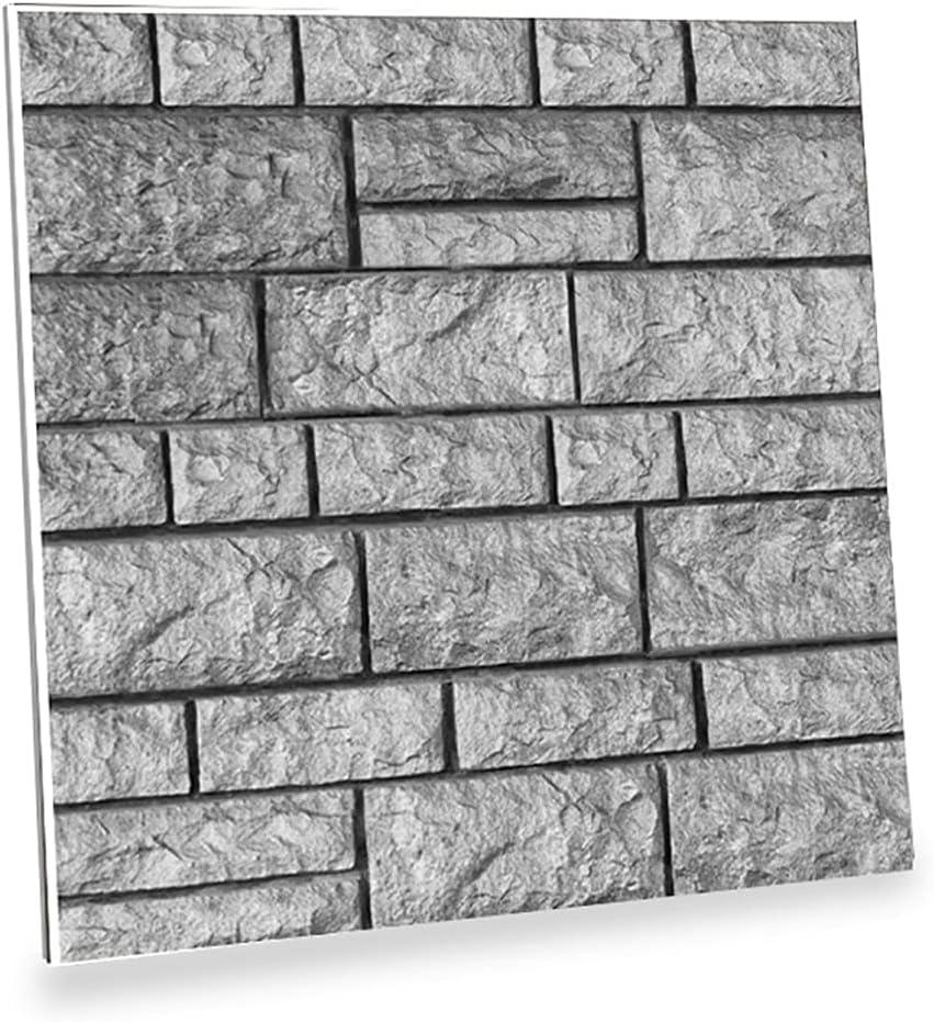 3D Wall Panels Grey Brick Wallpaper, Peel and Stick 3D Wall Pane
