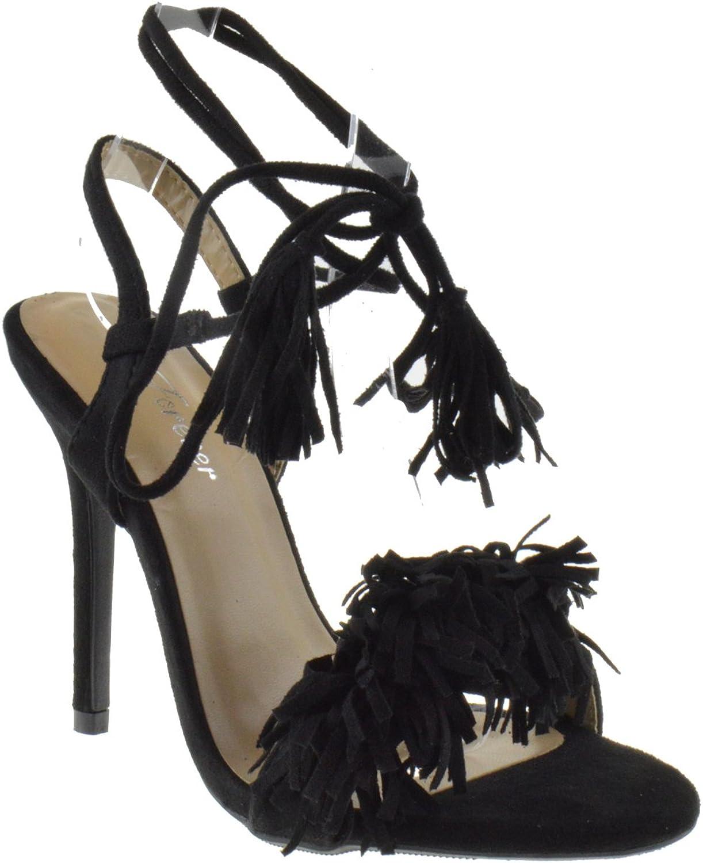 Rubina 57 Womens Fringe Open Toe High Heel Sandals Black 5.5