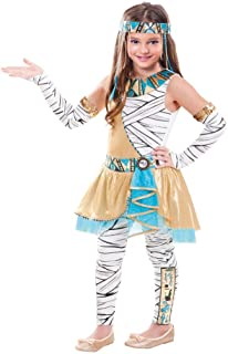 SP Funworld Girls Cleopatra Costume Egyptian Princess Dress Queen of The Nile Outfit with Headpiece,Gloves and Pants M(8-10)