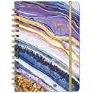 "2021 Planner - Weekly & Monthly Planner with Tabs, 6.5"" x 8.5"", Hardcover with Thick Paper + Back Pocket + Banded, Twin-Wire Binding - Purple Gilding"