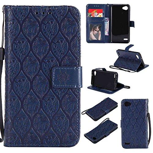 pinlu® Funda para LG Q6 Plus/LG Q6 Smartphone Plegado Flip Billetera Carcasa Retro PU Leather Cover Función de Soporte con Ranura Case Rayas de Ratán Azul Oscuro