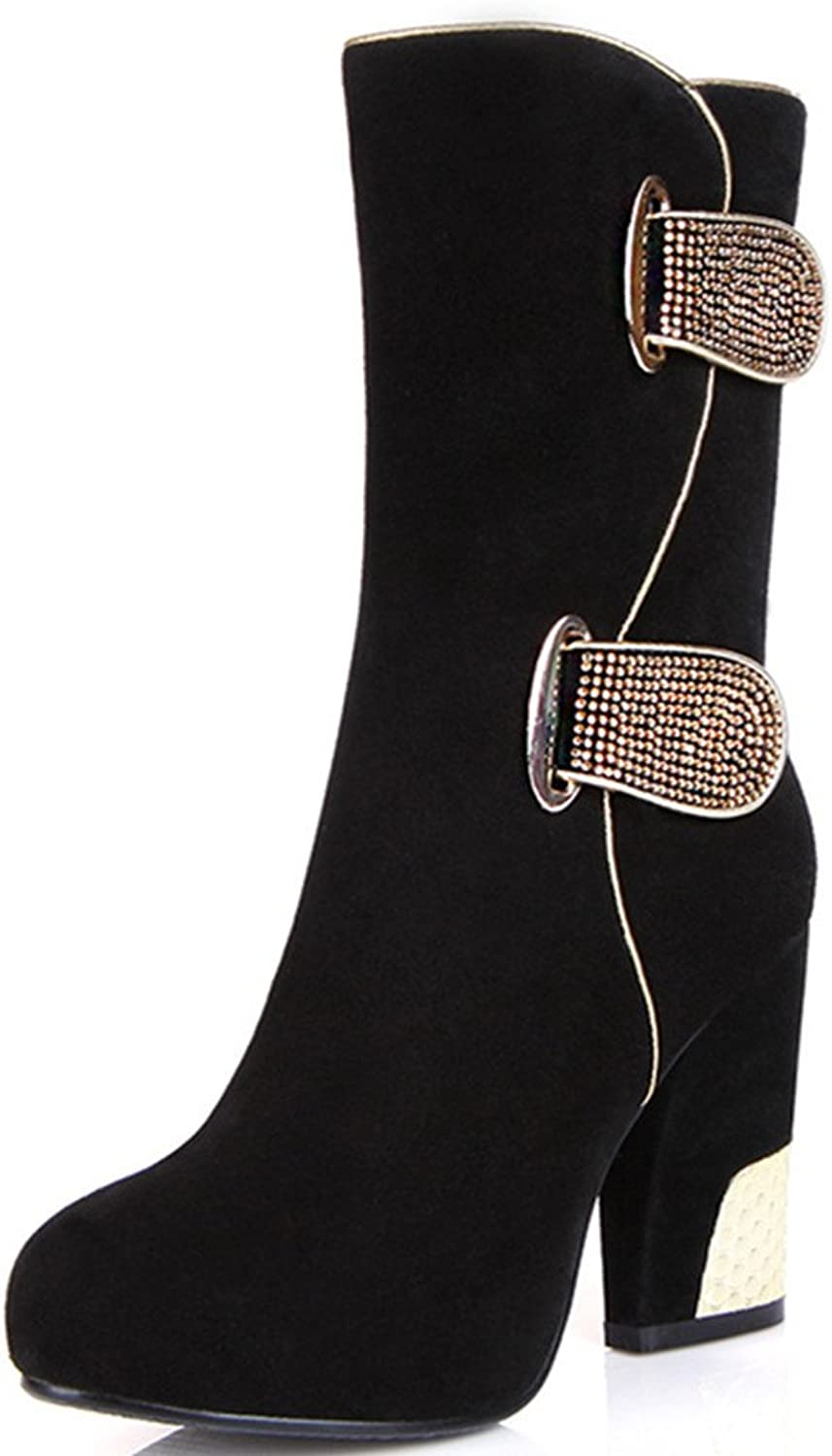 Nine Seven Suede Leather Women's Round Toe Chunky Heel Platform Buckle Mid Calf Handmade Boot