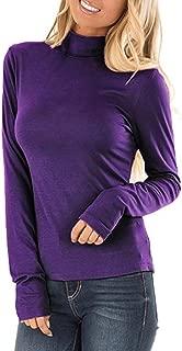 AKEWEI Turtleneck Shirt Women Tops Long Sleeve T Shirt Pullover Sweatshirt S-3XL
