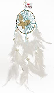 Rooh Dream Catcher - Vintage Butterfly ~ Handmade Hangings for Positivity (Used as Home Décor Accents, Wall Hangings, Garden, Car, Outdoor, Bedroom, Key Chain, Meditation Room, Windchime) (Ivory)