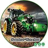 Tortenaufleger aus Zuckerpapier Geburtstag Tortenplatte Zuckerbild Motiv: Traktor grün