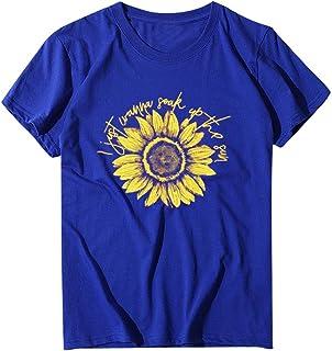 FELZ Camiseta para Mujer Mujeres Camisa Deportiva Girasol Impreso Manga Corta Camiseta Cuello Redondo Jersey Chandal Casua...