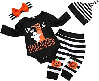Newborn Baby Halloween Costumes 4Pcs Outfits Set Letter Rompers Pumpkin Printing Baby Boys Girls Clothes My First Halloween