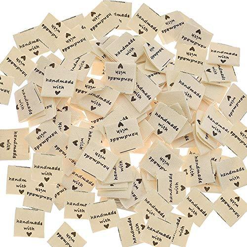 AMACOAM Handmade Label Etiketten Stoff Tags Kleideretiketten 100 Stück Handmade Etiketten Handmade Stoffetiketten Textiletiketten zum Annähen Label Nähen DIY Dekor Nähzubehör, Beige