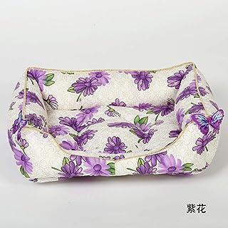 WALSITK Nido de Mascotas de Estilo Chino de época Cuatro Estaciones Universal Grande y Mediana Perrera Canina extraíble camada de Flores púrpura Flor, 52x40cm