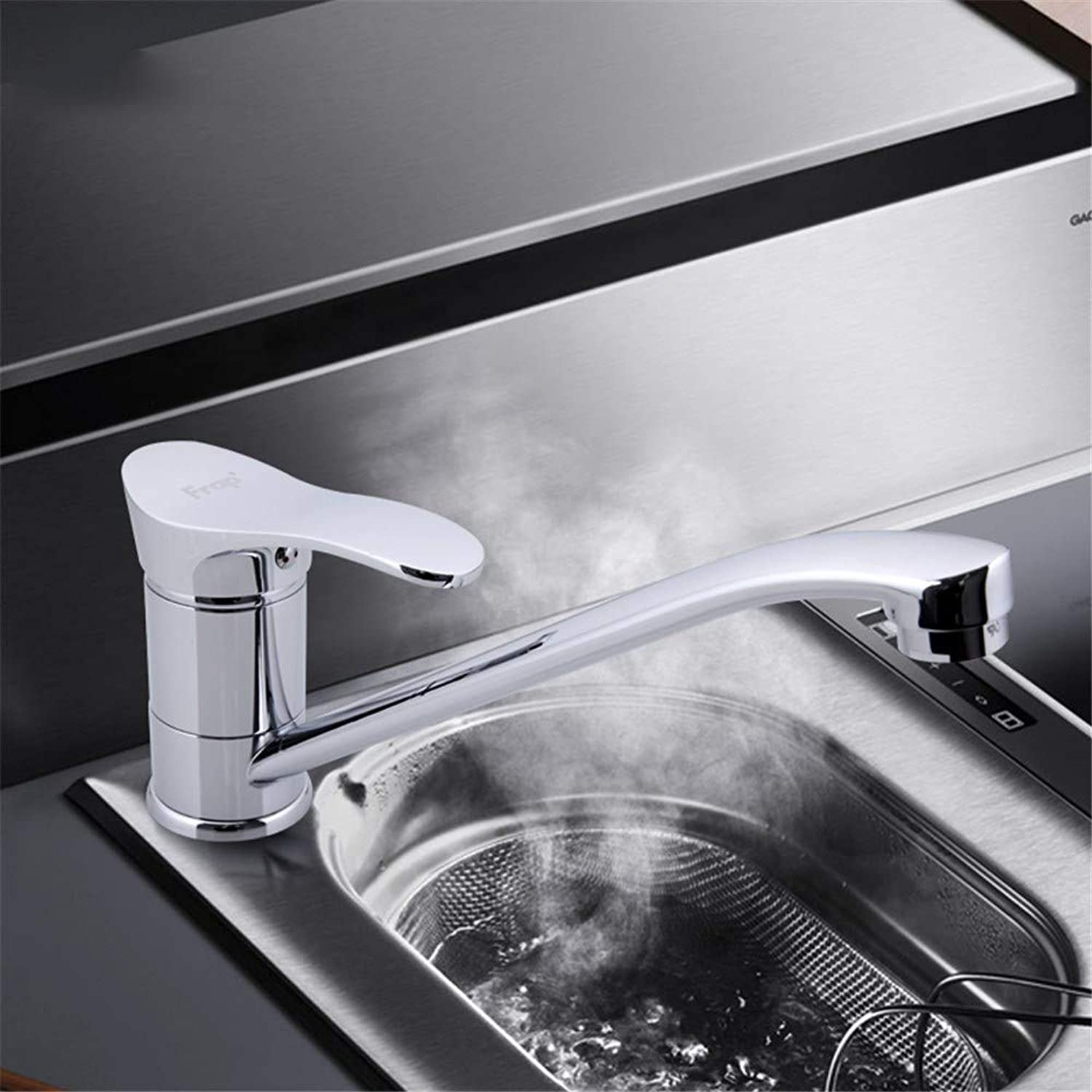 Joeyhome Chrome Finished Kitchen Sink Faucet Cold and Hot Water Mixer Single Handle Crane Torneira Cozinha 360 Degree redation F4901