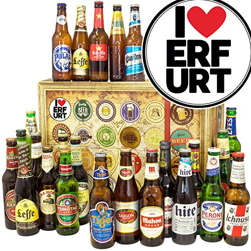 I love Erfurt/Weltbiere in Geschenkbox/Geschenkidee Erfurt/Bier Adventskalender