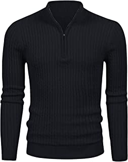 LTIFONE Mens Slim Fit Zip Up Mock Neck Polo Sweater Casual Long Sleeve Sweater and Pullover Sweaters with Ribbing Edge(16105Black,S
