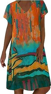 QUINTRA Women Women Dresses Floral Print Short Sleeve Dresses Plus Size Pullover Long Boho Dresses