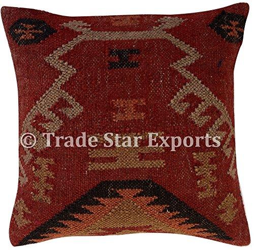 Tradestar Indian Jute Cushion Cover, Handwoven Rug Pillow, Kilim Pillow Cover 18x18, Boho Home Decor, Vintage Pillow Case, Oriental Cushion Cover, Decorative Throw Pillows (Pattern 2)