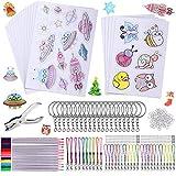 193 PCS Feuilles Plastique Fou, Kit de Plastique Thermorétractable Créatif Comprend 20 Pcs Feuilles, Perforateur, Crochet D'oreille, Porte-Clés, 12 Crayons de Couleur